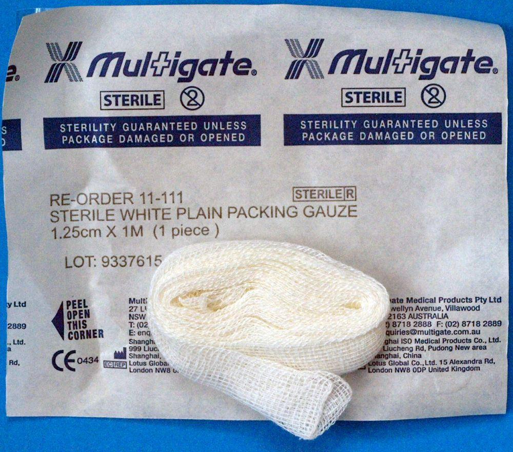 MULTIGATE STERILE PACKING GAUZE 1.25x1M EACH