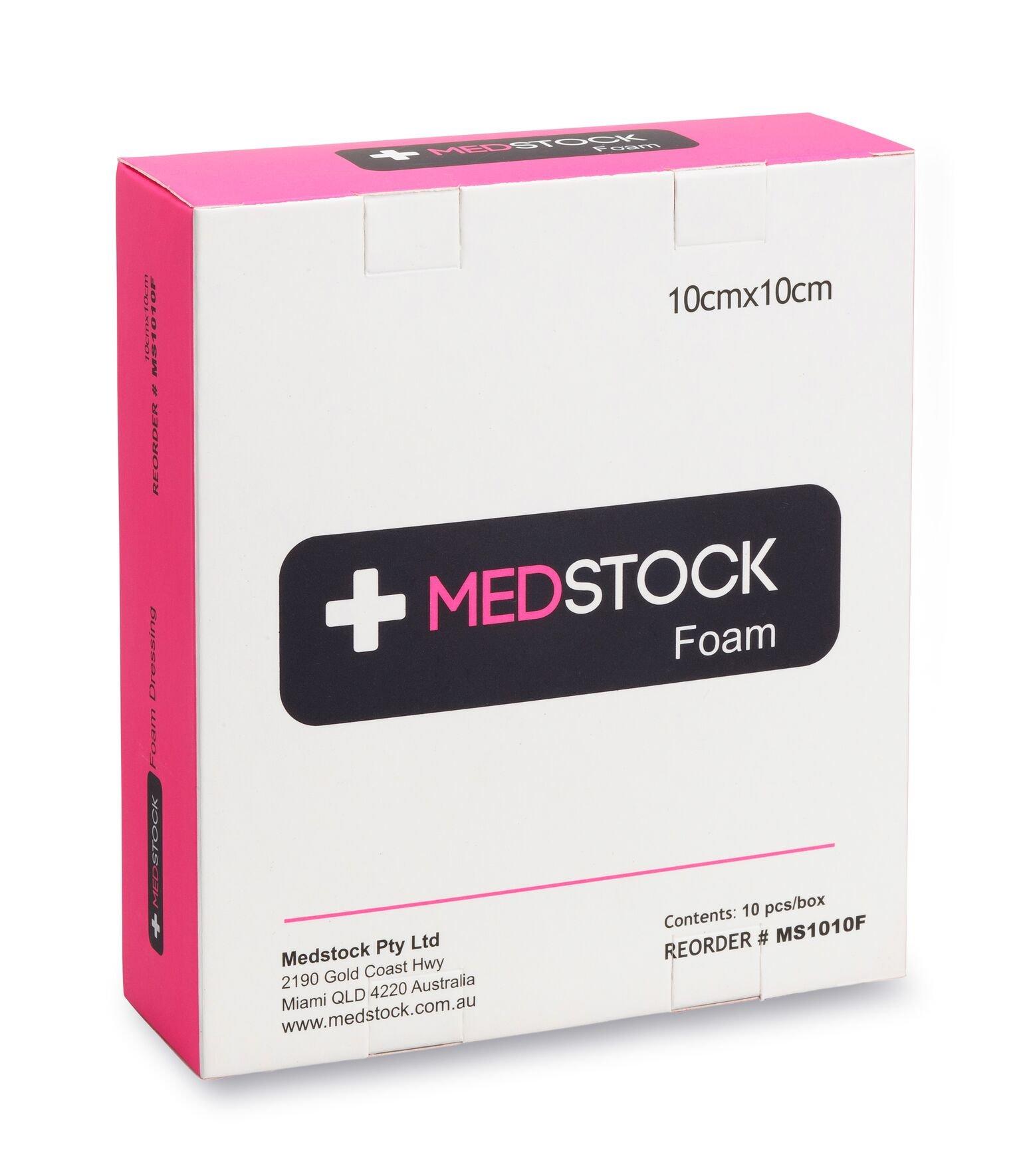 MEDSTOCK FOAM NON-ADHESIVE DRESSING 10CM X 10CM BOX 10