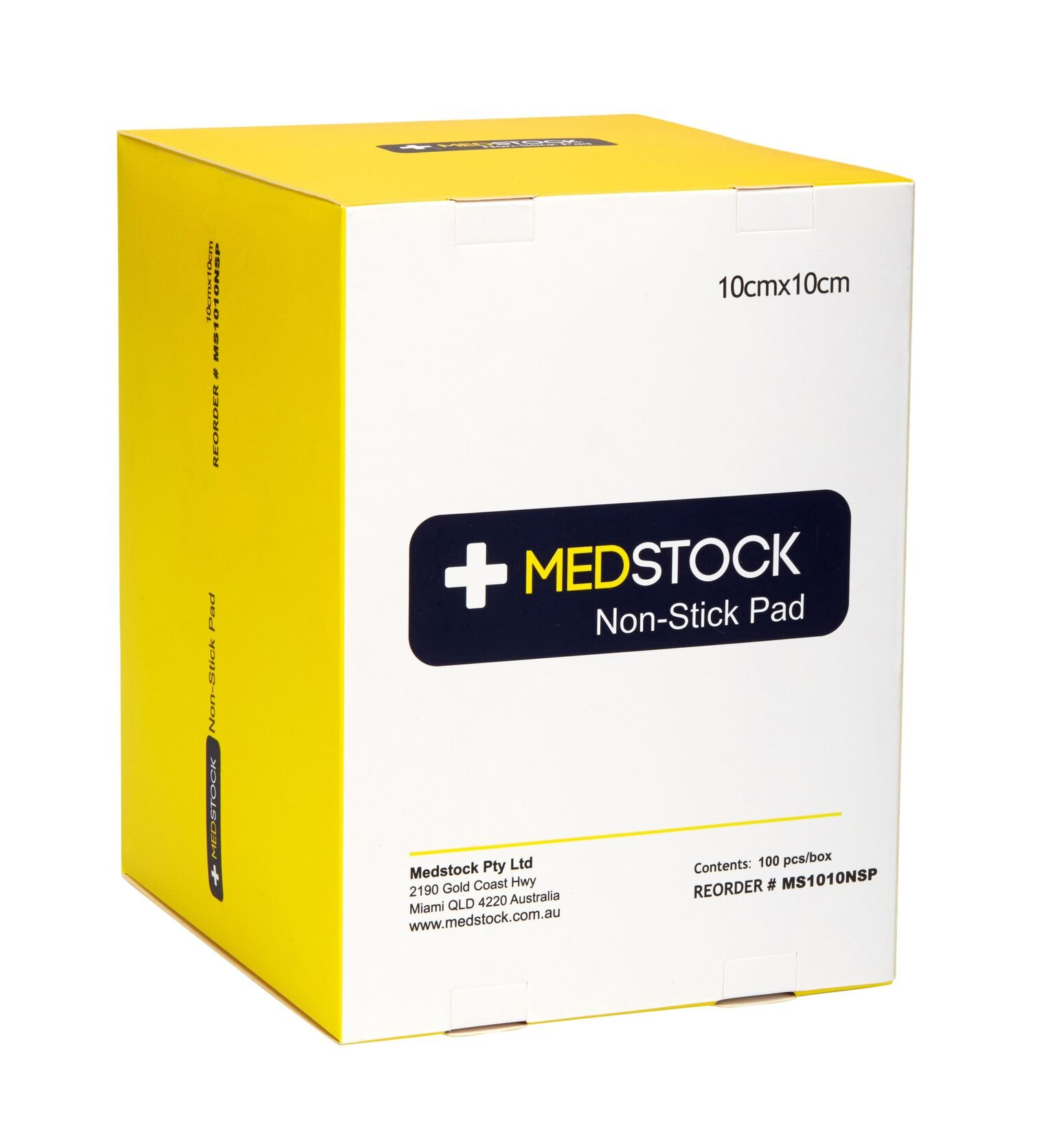 MEDSTOCK NON-STICK PAD 10CM X 10CM BOX 100