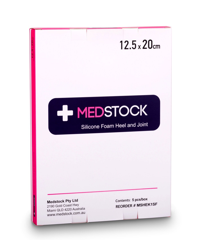 MEDSTOCK SILICONE FOAM BORDER HEEL 12.5CMx20CM, BOX 5