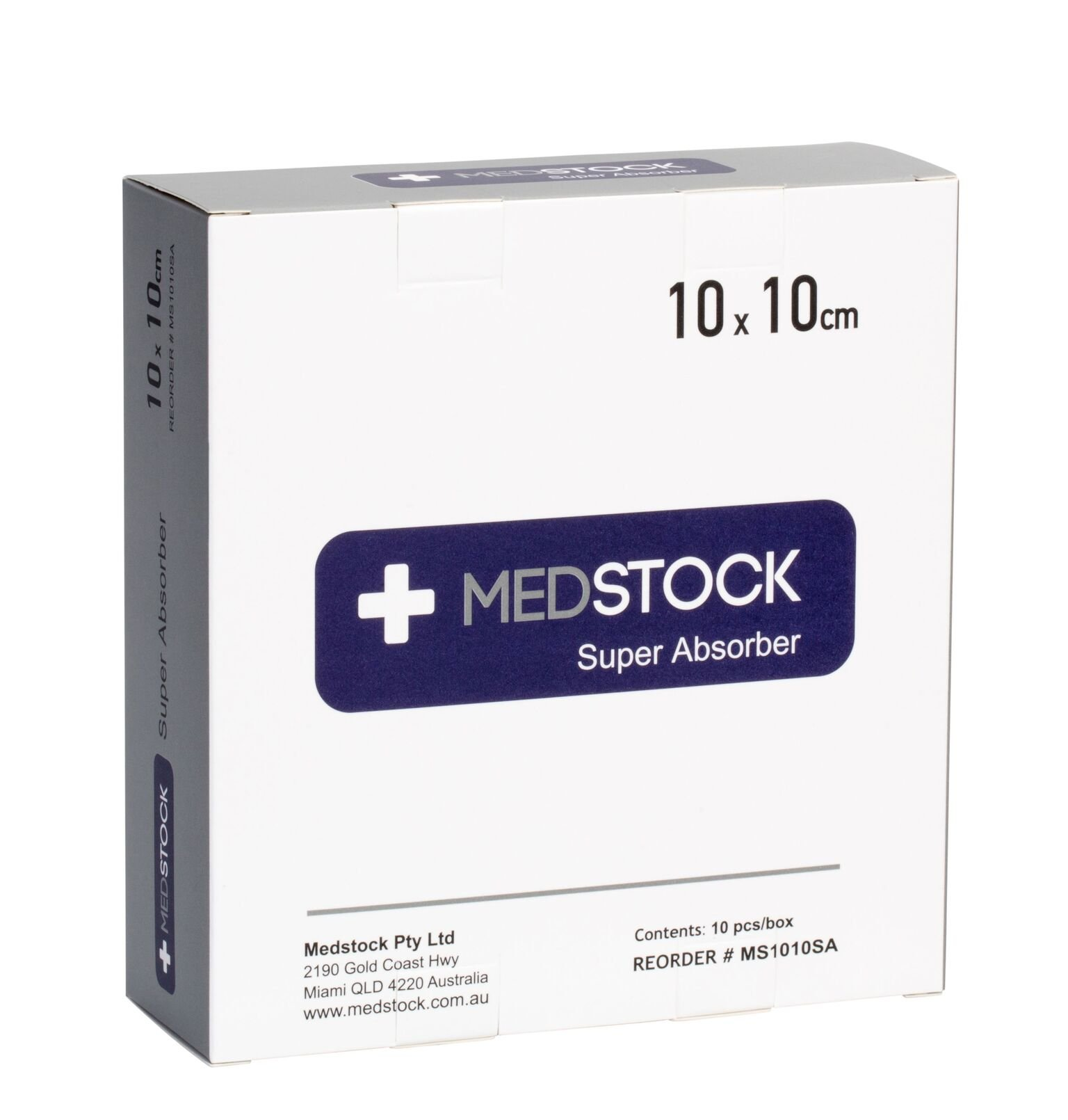 MEDSTOCK SUPER ABSORBENT DRESSING 10CM X 10CM, BOX 10