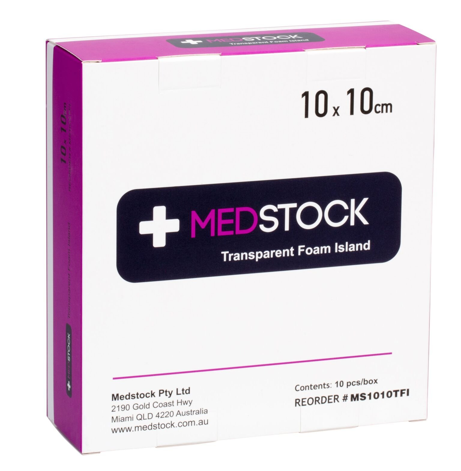 MEDSTOCK TRANSPARENT FOAM ISLAND DRESSING 10CM X 10CM, BOX 10
