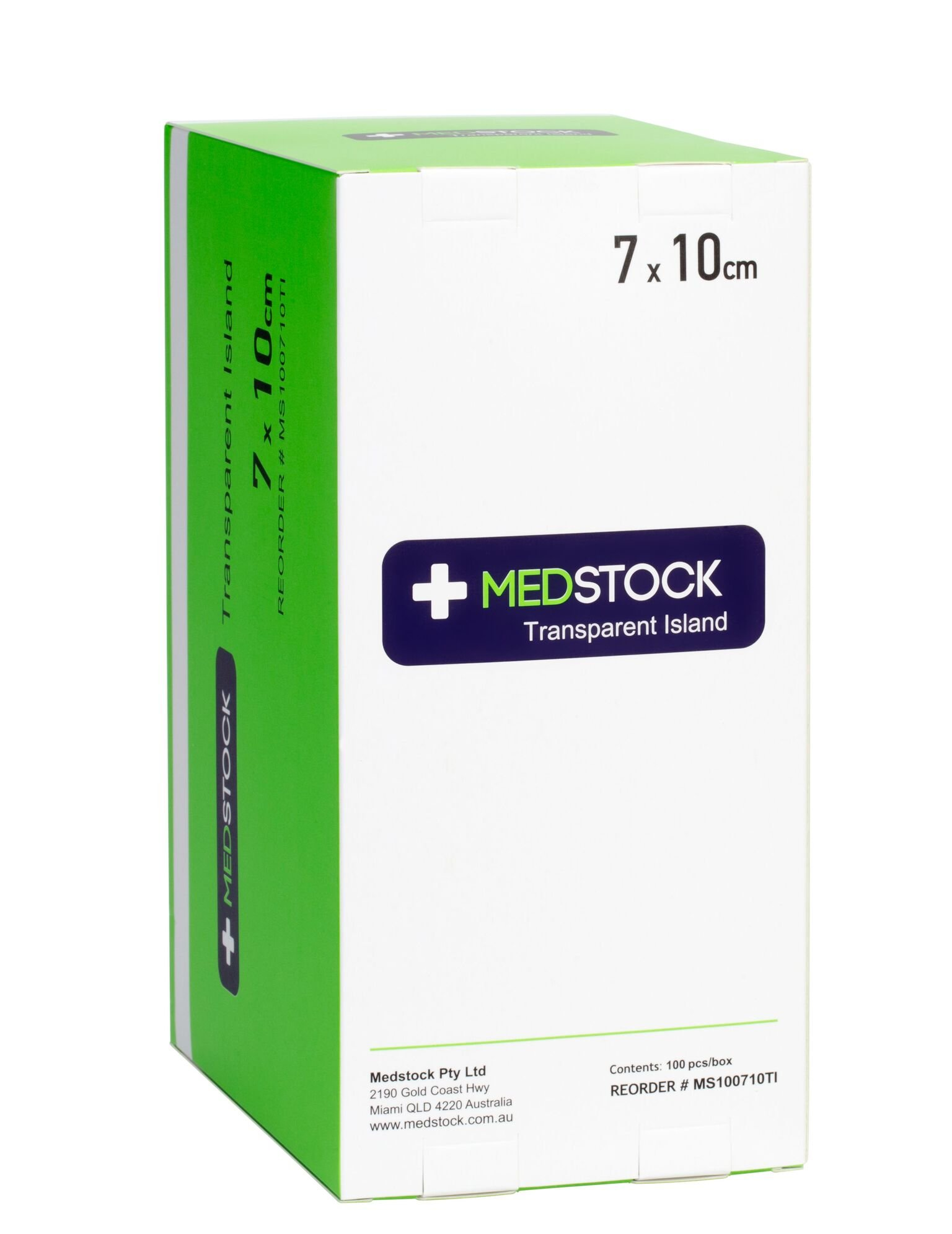 MEDSTOCK TRANSPARENT ISLAND DRESSING 7CM x 10CM BOX 100
