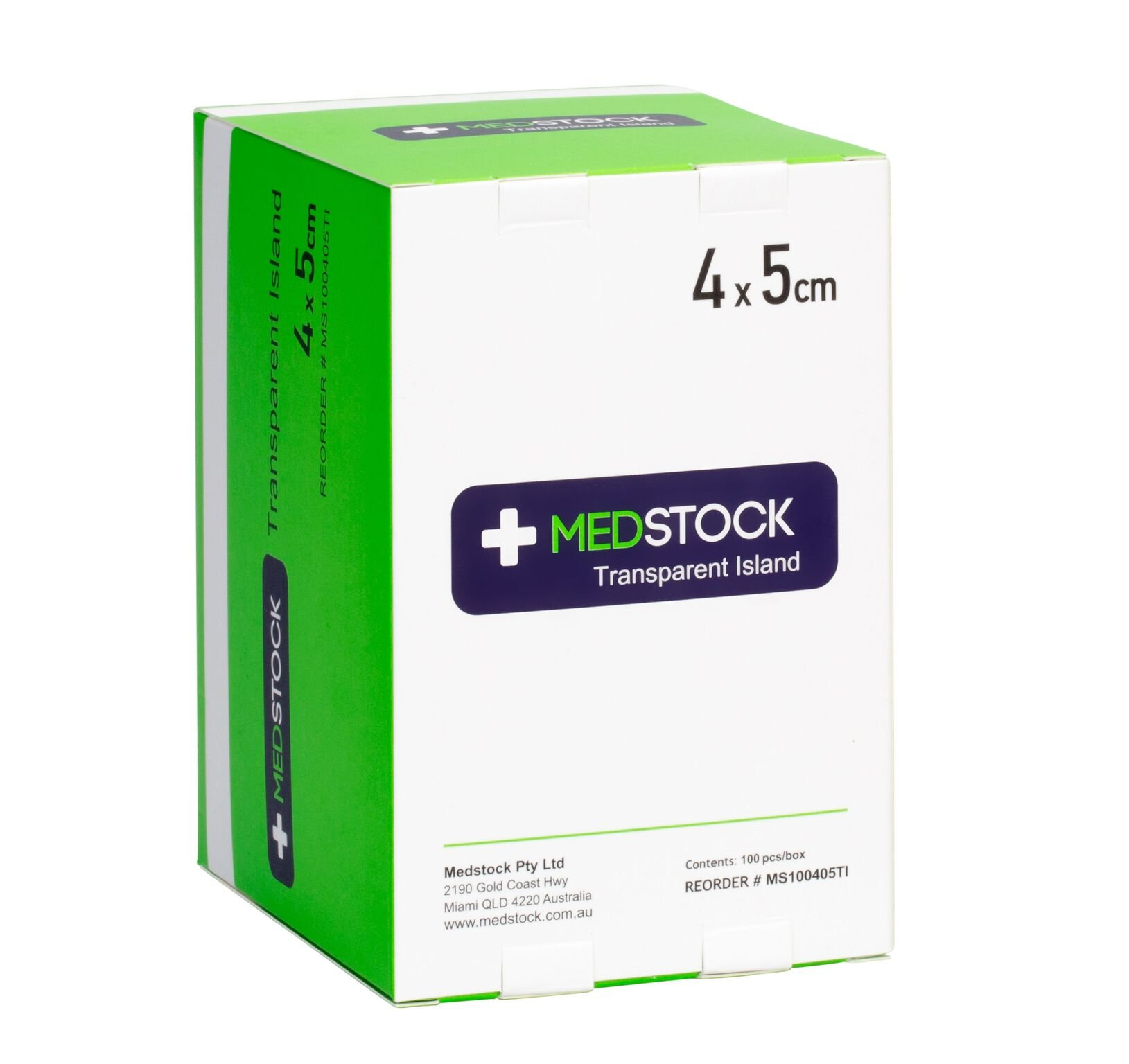 MEDSTOCK TRANSPARENT ISLAND DRESSING 4CM X 5CM, BOX 100