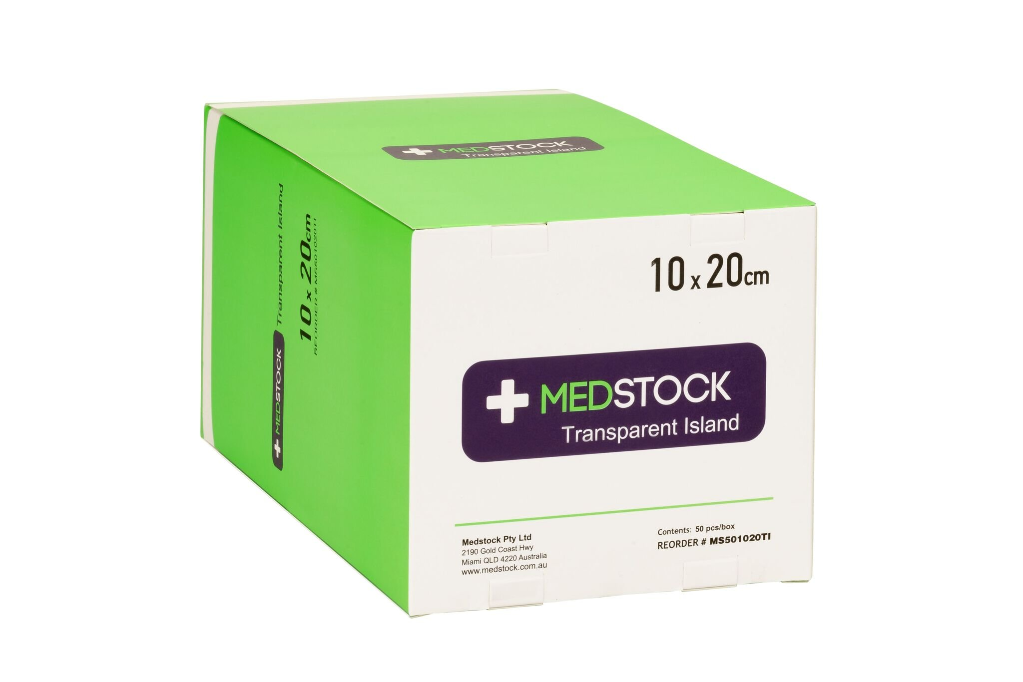MEDSTOCK TRANSPARENT ISLAND DRESSING 10CM X 20CM, BOX 50