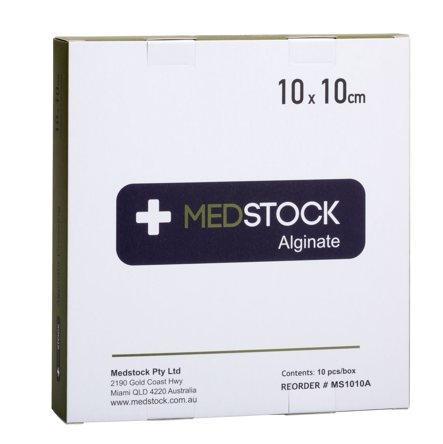 MEDSTOCK ALGINATE DRESSING 10CMx10CM, BOX 10