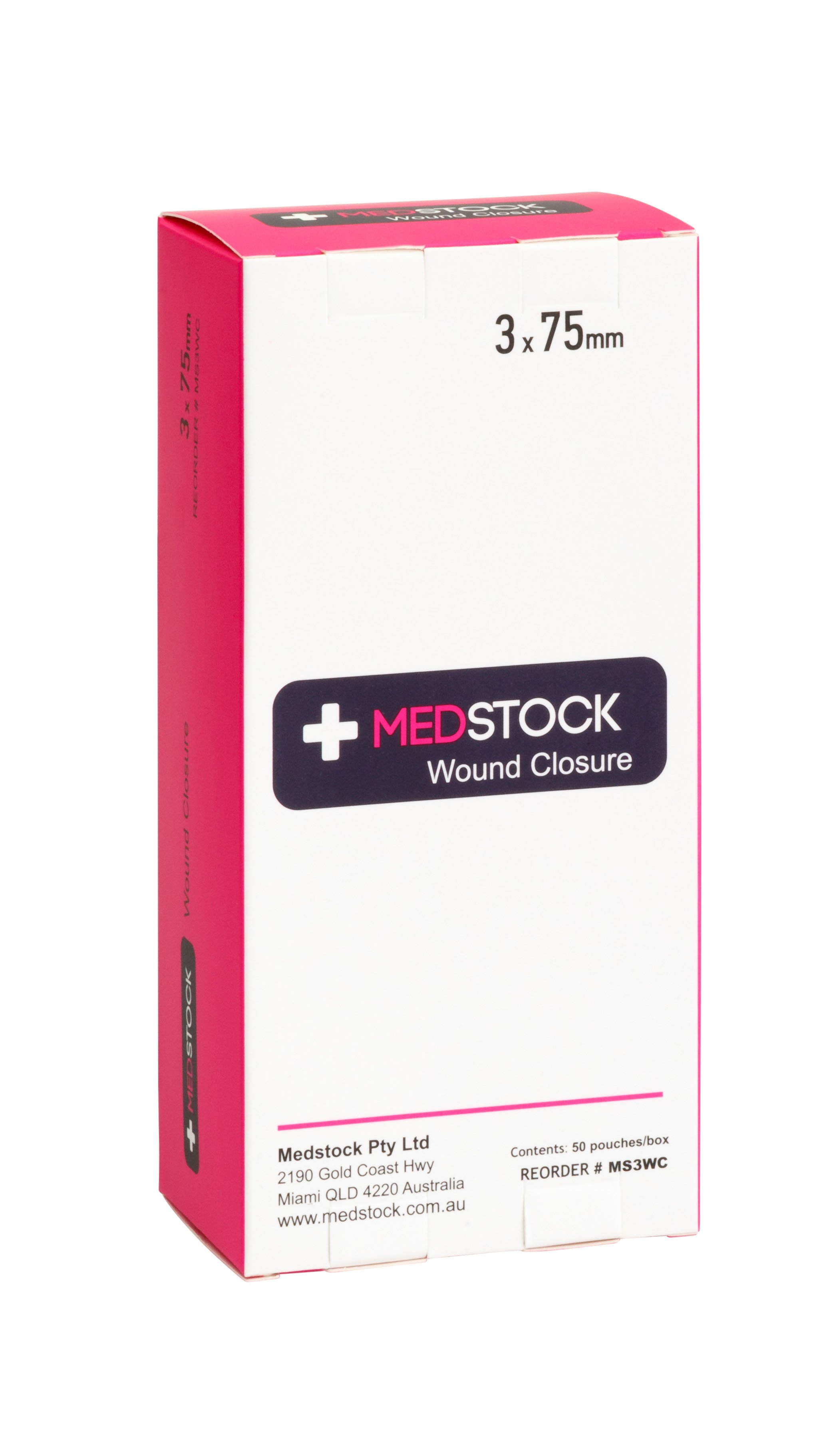MEDSTOCK WOUND CLOSURE STRIP 3MMx75MM, BOX 50