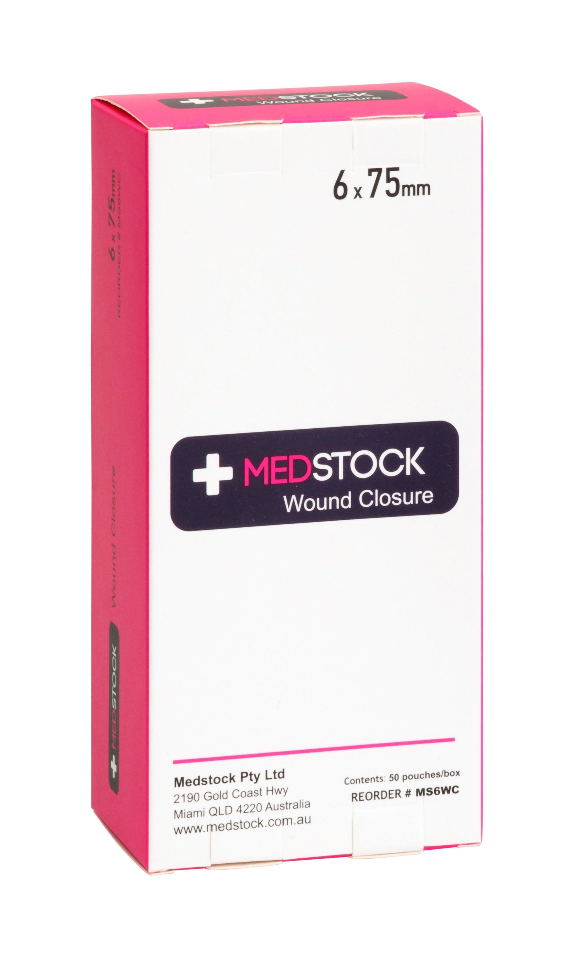 MEDSTOCK WOUND CLOSURE STRIP 6MMx75MM, BOX 50