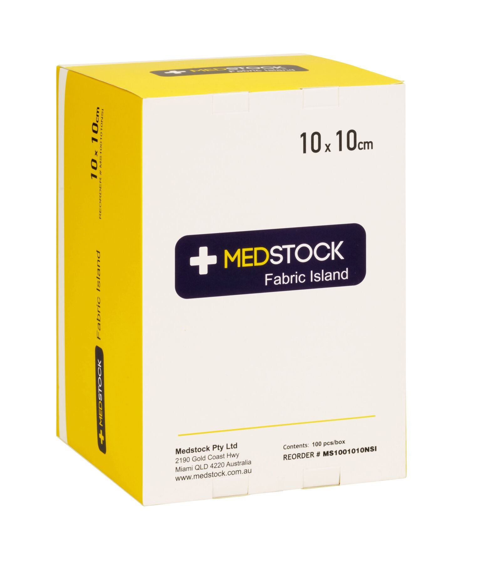 MEDSTOCK FABRIC ISLAND DRESSING 10CM X 10CM, BOX 100
