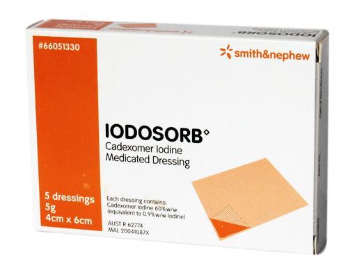 IODOSORB 5G MEDICATED DRESSING SHEET 6CMx4CM BOX 5