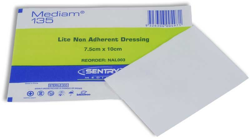 MEDIAM 135 LOW ADHERENT DRESSING 7.5CMx10CM, BOX 100