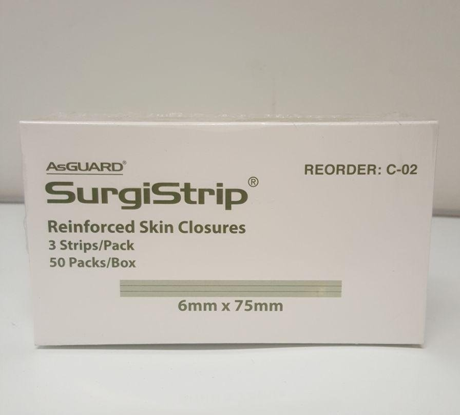 AsGUARD SurgiStrip 6mmx75mm C-02, Box 50