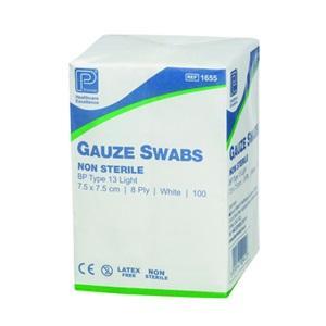 GAUZE SWABS NON-STERILE 7.5CMx7.5CM PKT 100