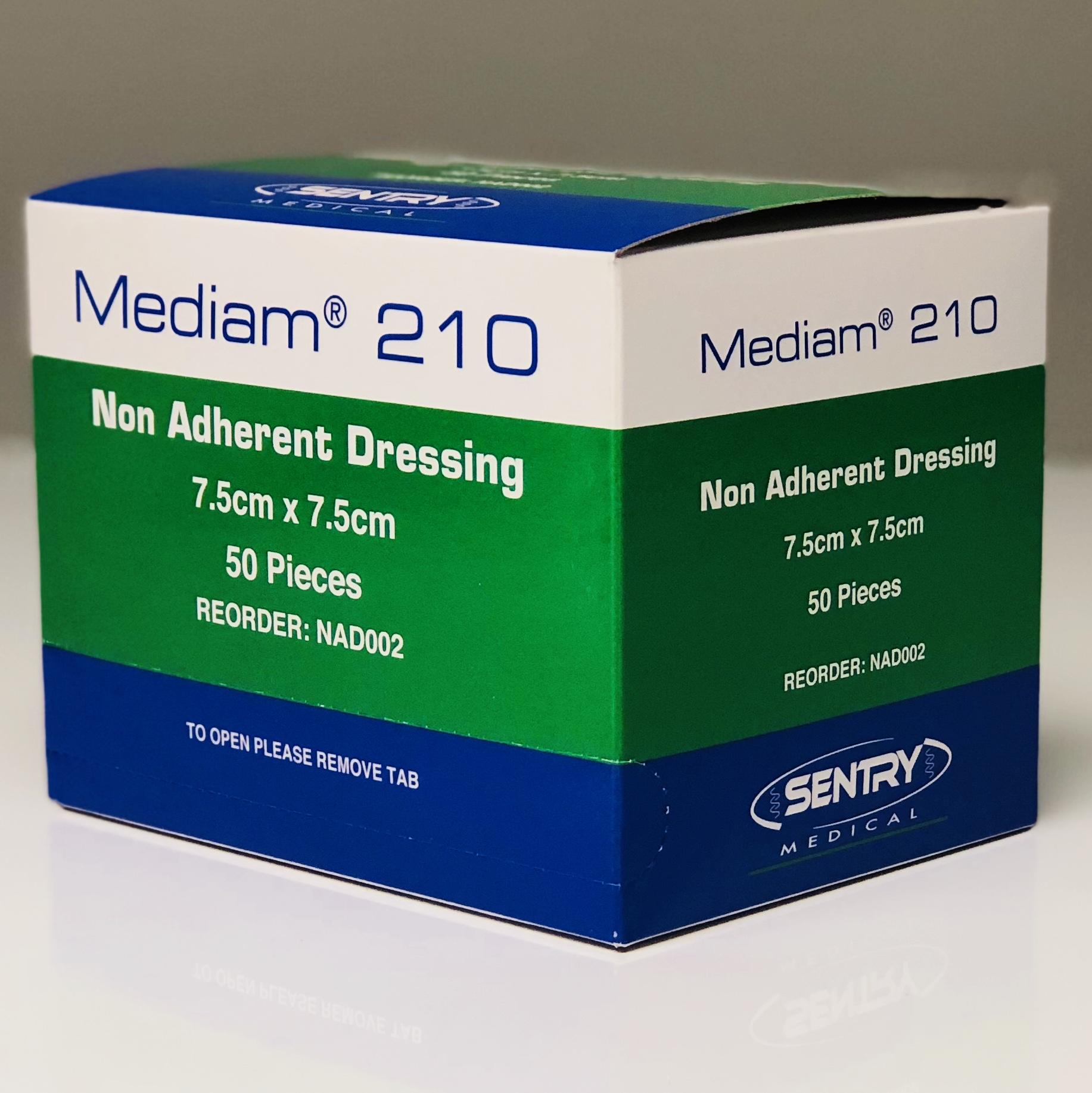 MEDIAM 210 LOW ADHERENT DRESSING 7.5CMx7.5CM, BOX 50