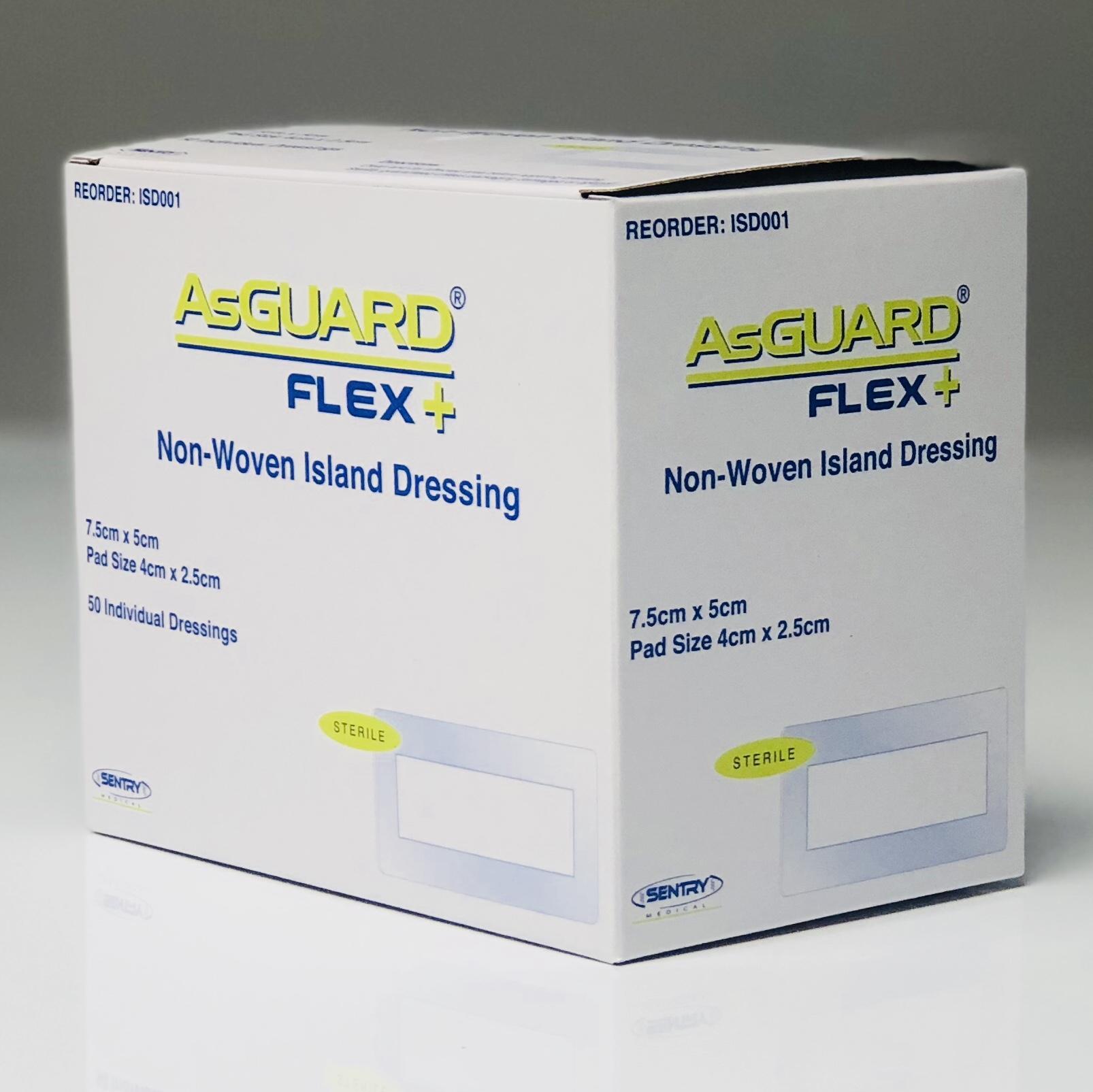 ASGUARD FLEX+ NON-WOVEN ISLAND DRESSING 5CMx7.5CM BOX 50