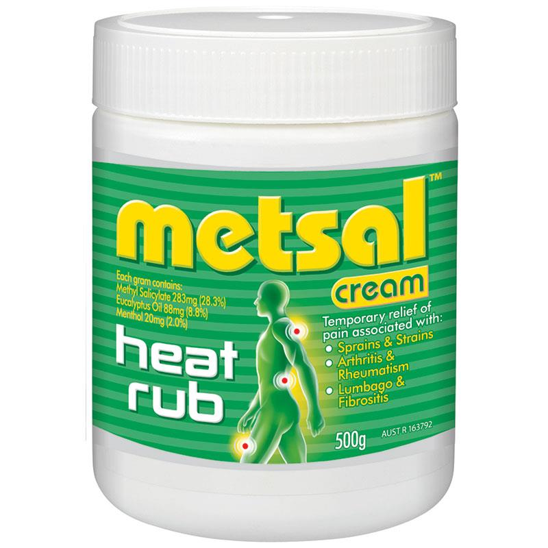 METSAL HEAT RUB CREAM 500G, EACH