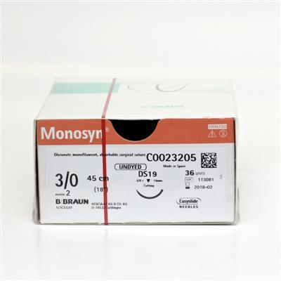 MONOSYN QUICK UNDYED 3/0 DS19 45CM, BOX 36