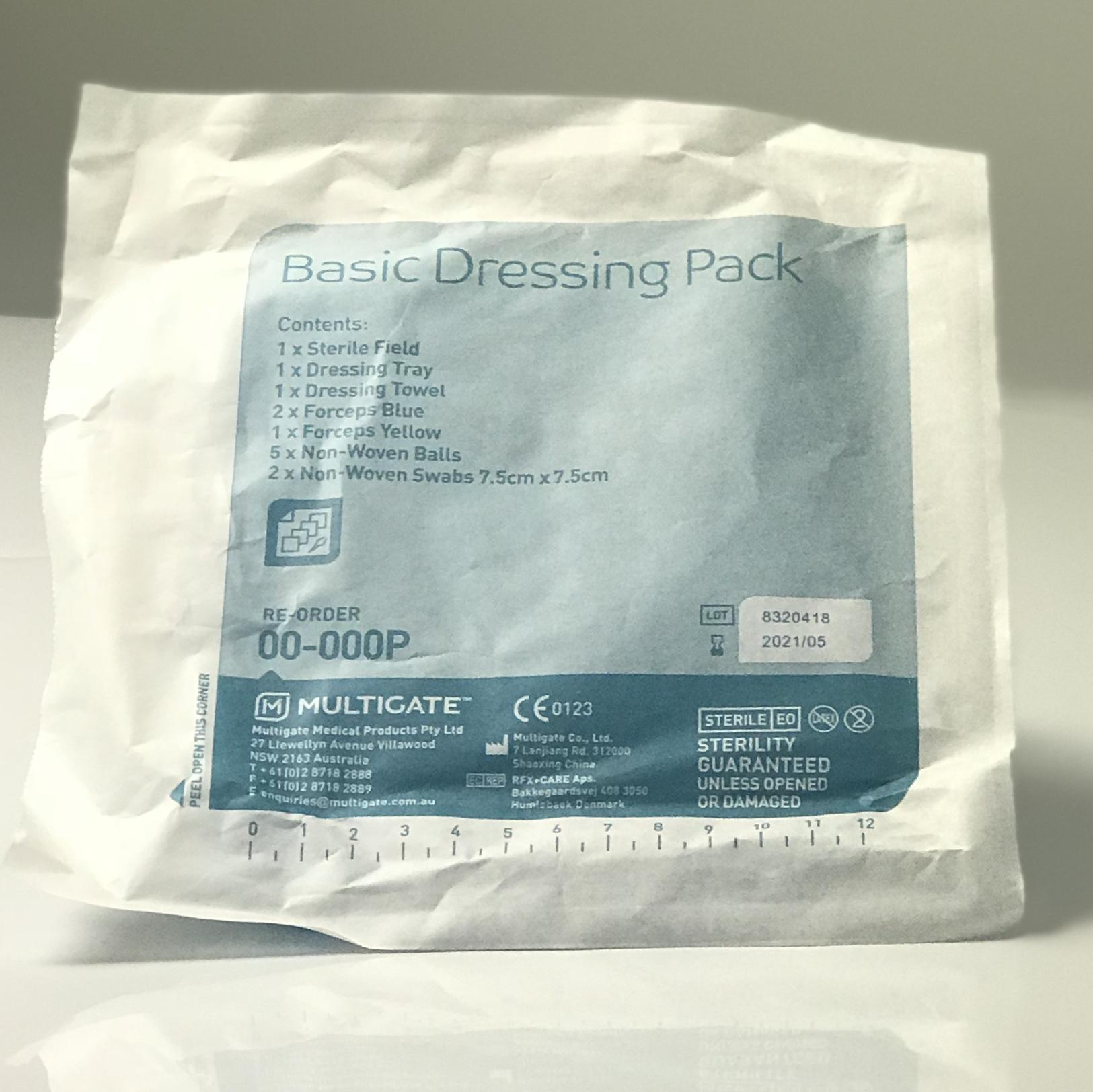 MULTIGATE BASIC DRESSING PACK WITH NON WOVEN BALLS AND SWABS- PEEL PACK, EACH
