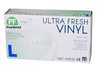 ULTRAFRESH GLOVES VINYL POWDERED LARGE CLEAR, BOX 100