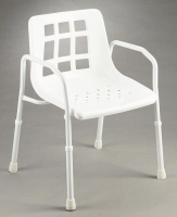 SHOWER CHAIR WITH ARMS WIDE 200KG ALUMINIUM EACH