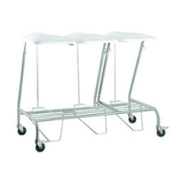 TRIPLE LINEN SKIP STAINLESS STEEL WITH FOOT OPERATED LID, EACH