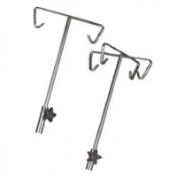STAINLESS STEEL IV POLE, 5 LEG MOBILE BASE, 5 HOOK 1350-2050MM, EACH