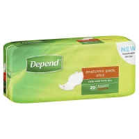DEPEND ANATOMIC PADS PLUS 19946, PKT 15
