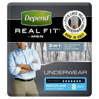 Depend Real Fit Underwear For Men Super Sml/Medl, Pack 8