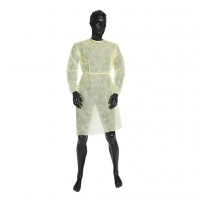 ULTRAHEALTH CLINICAL ISOLATION GOWN NON STERILE YELLOW WITH TIES AND ELASTIC CUF
