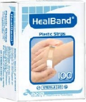 Bandaid HealBand Plastic Strips 20mm x 72mm, Box 100