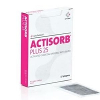 ACTISORB PLUS 25 CHARCOAL/SILVER 10.5CMx10.5CM, BOX 10