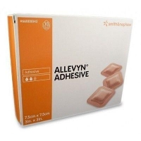 ALLEVYN ADHESIVE 7.5CMx7.5CM, BOX 10